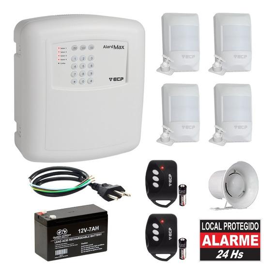 Kit Alarme Residencial Ecp 4 Sensores Presença Alard Max 4