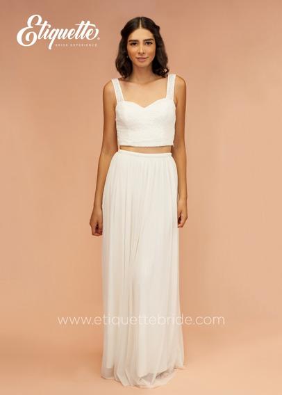 Vestido Ideal De Novia Boda Civil Bonito Economico Blanco