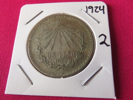 Un Peso Resplandor 1924 Plata Ley .720 Circulada