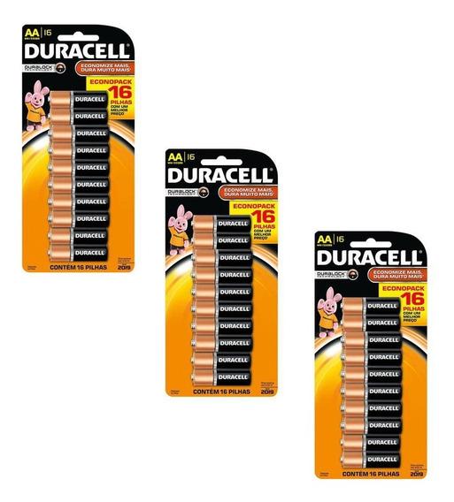 Kit 3 Cartelas Pilhas Alcalina Aa Duracell - Total 48 Pilhas