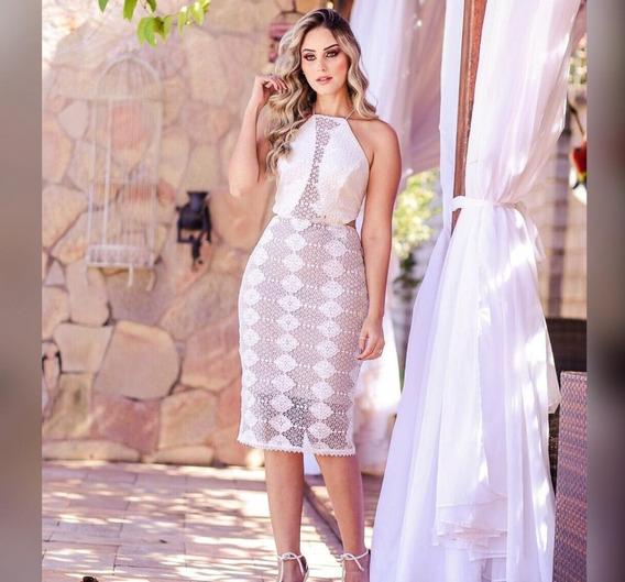 Vestido Midi Renda Decote Casamento Civil E Formatura