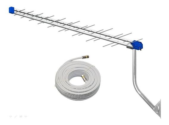 Kit Antena Digital Pq45-1300hd Proeletronic + Mastro + Cabo