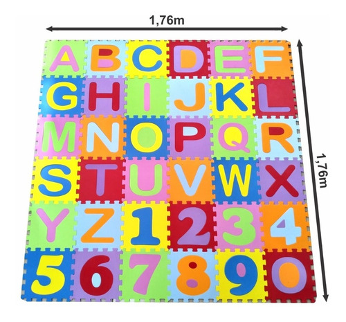 Tapete Infantil Eva Alfabeto + Números 36 Peças 31x31cm 7mm