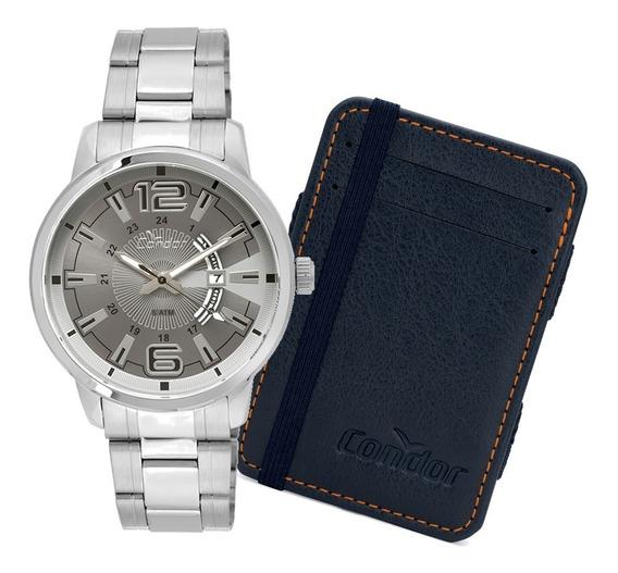 Relógio Condor Masculino Prata + Carteira - Co2115yf/ks3c
