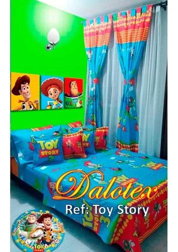 Cubrelecho Cama Sencilla Toy Story Fondo Rojo