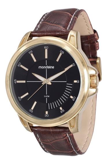 Relógio Masculino Dourado Pulseira De Couro Mondaine