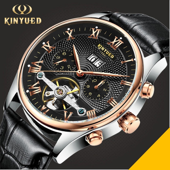 Relogio Social Luxo Turbilhao Kinyued Couro Preto Automatico Dourado Funcional Romano Lançamento Frete Grati R45 Lxbr