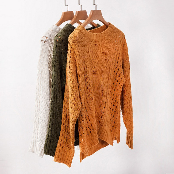 Suéter De Punto Suelto Para Mujer Jersey Casual Liso Manga