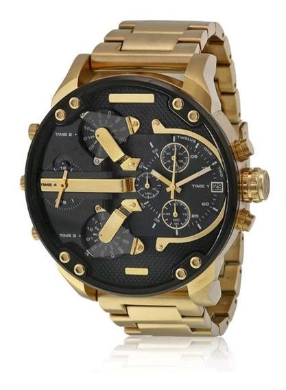 Relógio De Pulso Análogos De Aço Inoxidável Dourado