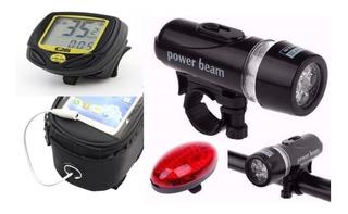 Acessórios Bike 3pç Lanterna E Pisca Velocimetro E Case Cel.
