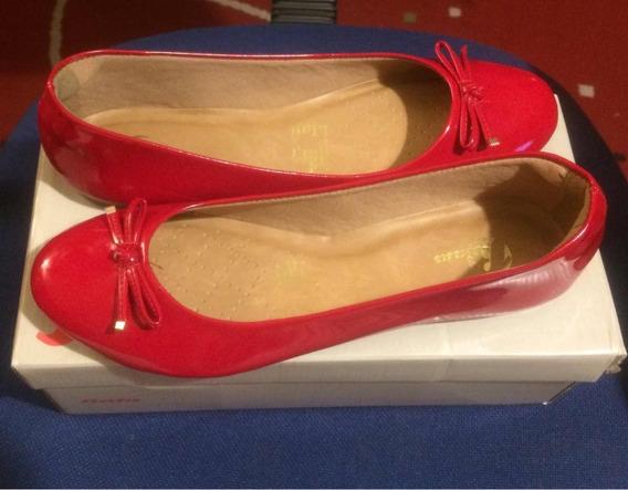 Zapatos Ballerina Rojos Charol 40 Bata Nuevos
