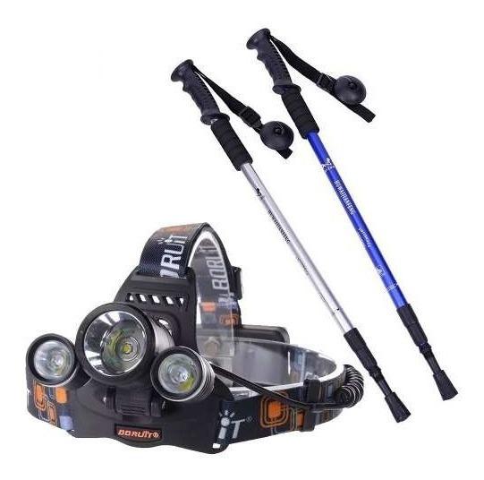 Pack 2 Baston Trekking Recto + Linterna Cintillo 5000 Lume
