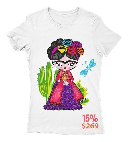 Imagen 1 de 4 de Playera Frida Kahlo Cactus