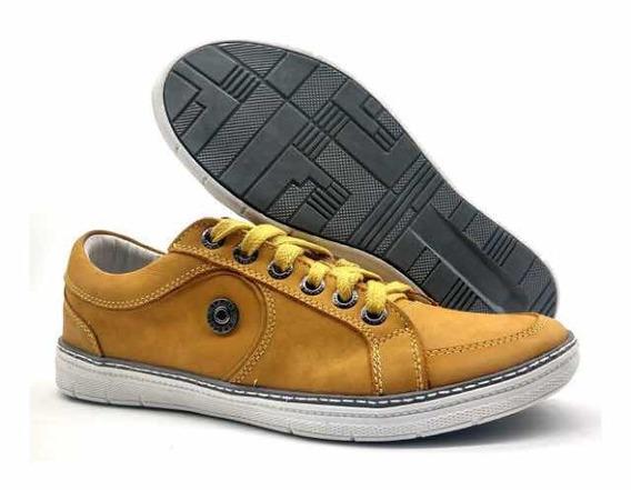 Sapato Casual Bmbrasil Em Couro Legítimo- Mostarda