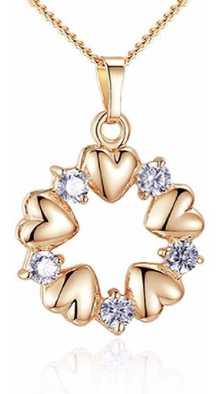 Colar Feminino Folheado Ouro 18k Coração Zirconia Joia C01
