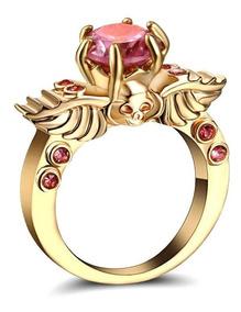 Aro 23 Anel Feminino Quartzo Rosa Caveira Banho Ouro 537 X