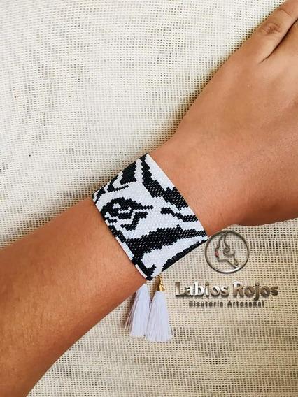 Brazalete Artesanal Diseño De Zebra En Miyuki Wildstyle