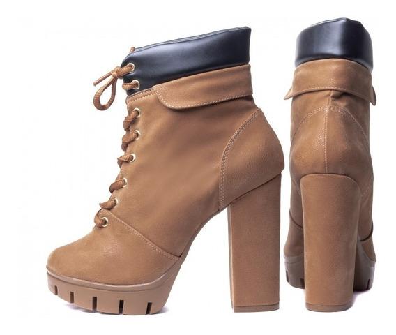 Ankle Boot Bota Tratorada Inverno Plataforma Salto Grosso