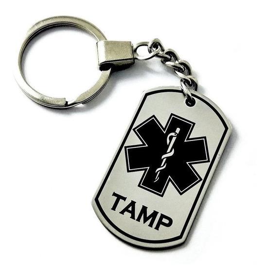Llavero Placa Militar Dog Tag Tamp Paramédico Erum Esculapio