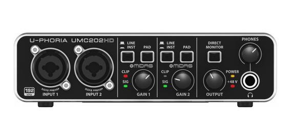 Behringer Interface Para Gravação De Áudio U-phoria Umc202hd