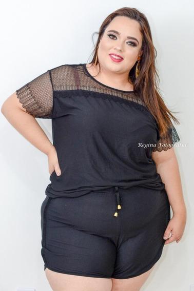 Conjunto Short E Blusa Plus Size Super Confortável + Cores