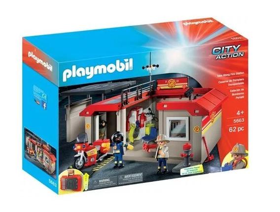 Brinquedo Estação De Bombeiros Fogo Alto Playmobil 1178