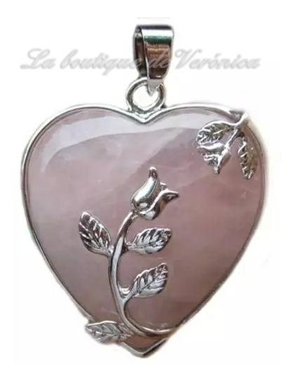 Collar Corazón Cuarzo Rosa Natural Cadena De Acero