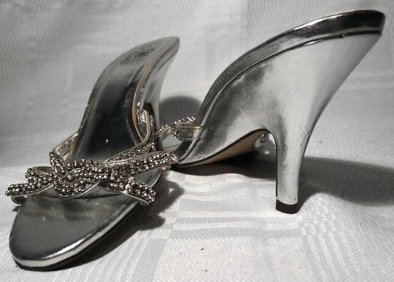 Zapatos De Fiesta Brillantes Con Strass Plateado
