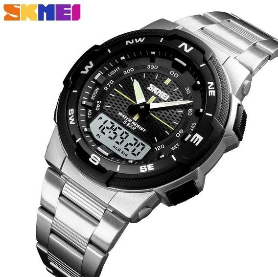 Relógio Masculino Skmei 1370 Digital Prova D Água 50m Inox