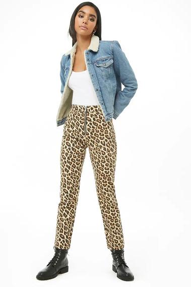 Forever 21 Pantalon Jeans Mezclilla Recto Animal Leopardo