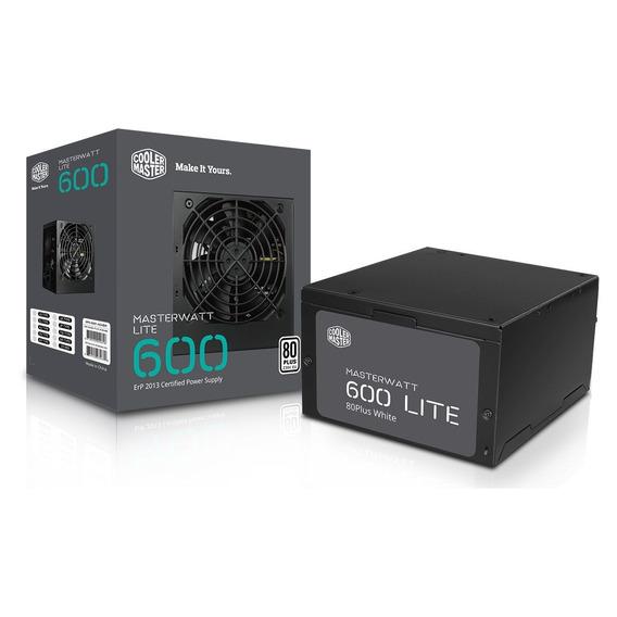 Fonte Cooler Master Masterwatt Lite 600w 80 Plus Pfc Ativo