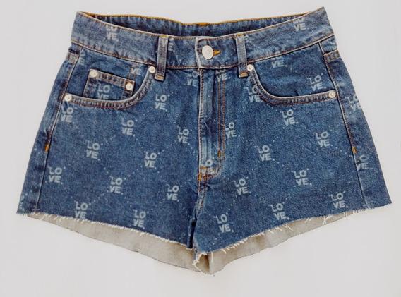 Shorts Jeans Estampado H&m Nuevo Con Etiqueta Talle 36