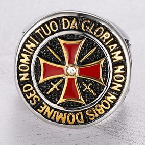 Anel Aço Inox 316l Ouro Templario Cruz Moto Punk Lxbr A34