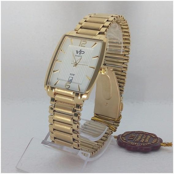 Relógio Feminino Vip Mh309 Dourado Quadrado Original 12x S/j