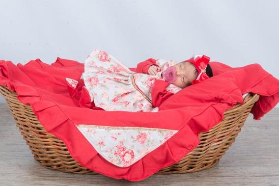 Saida De Maternidade Menina Floral Rosa C/ Strass