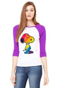 Playera 3/4 Snoopy De Colores, Corte Mujer.