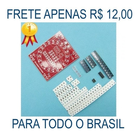 Kit Sequencial Leds 4017 555 Placa Teste Solda Smd Diy Pcb