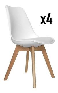 Silla Tulip Eames X 4 Unidades Almohadon Patas Madera Diseño