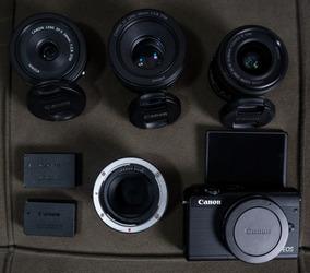 Camera Canon M100 + 15-45mm + 24mm + 50mm