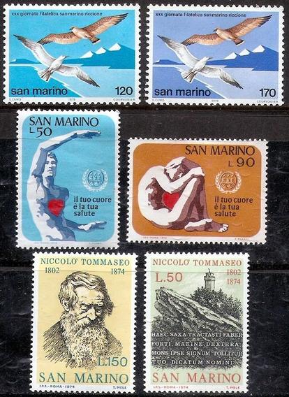 San Marino 3 Series Mint Completas Años 1974/78 - 6 Valores
