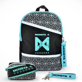 Mochila Escolar Kpop + Estojo + Chaveiro Monsta X