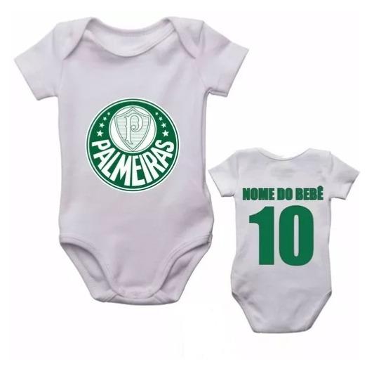 Kit 5 Body Infantil Palmeiras Futebol Personalizado Com Nome