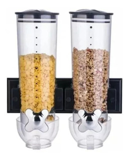Doble Dispensador De Cereal Y Alimentos Secos De Pared Negro