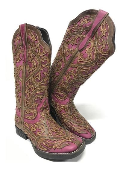 Bota Texana Feminina Country Vimar Rosa E Marrom