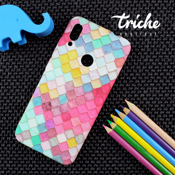 Funda Case Mosaico Colores Sirena Dama Mujer Xiaomi Redmi Note 7