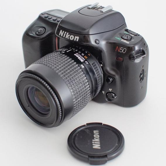 Câmera Fotográfica Analógica Nikon N50 + Lente 35-80mm 4-5.6