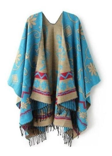 Pala Lã Poncho Azul Claro Feminino Para Encomenda