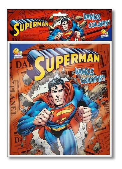 Livro- Superman - Coleção Vamos Colorir! - Kit Livro + Lápis