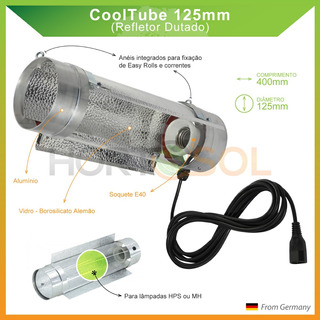 Refletor Cooltube 125mm Borosilicato Hortosol 4m De Cabo