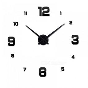 Relógio De Parede 3d Sala Escritorio Decoração Luxo Preto